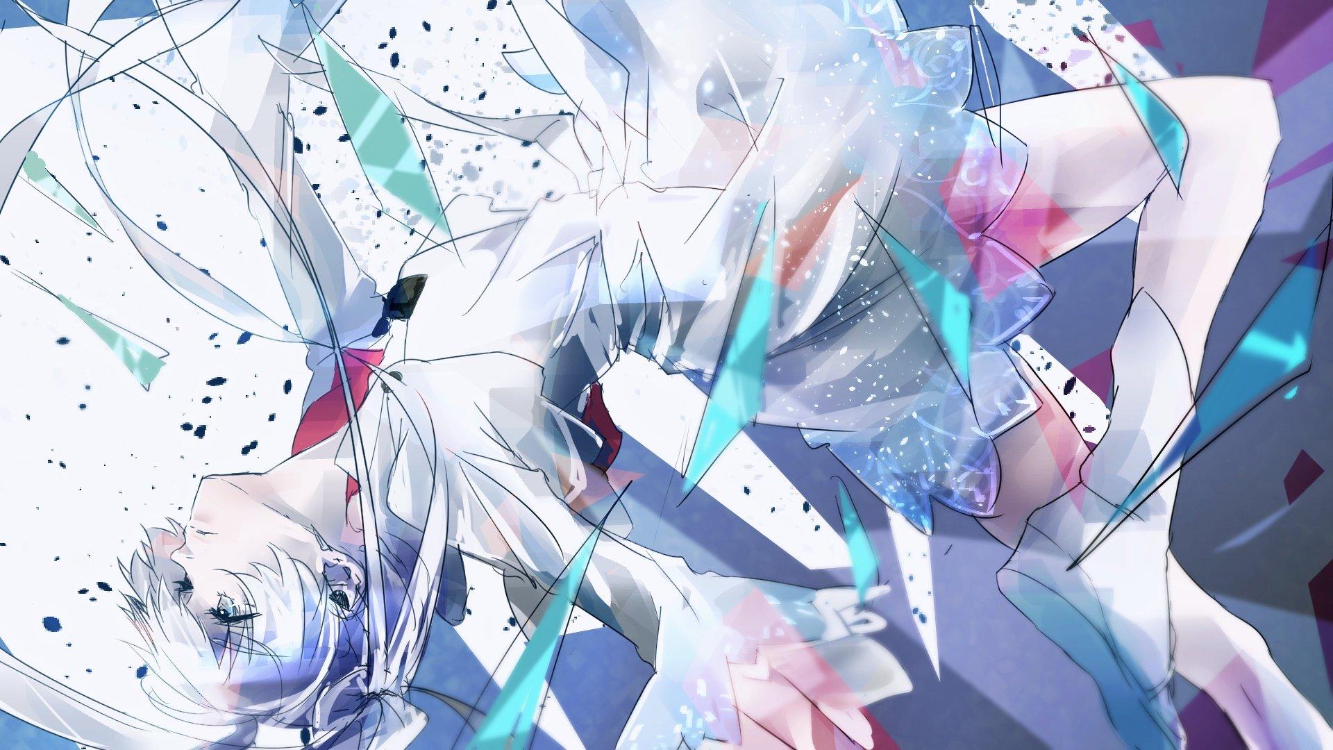 Blue eyes boots dress jewelry long hair girl anime ribbon - Anime blue girl wallpaper ...