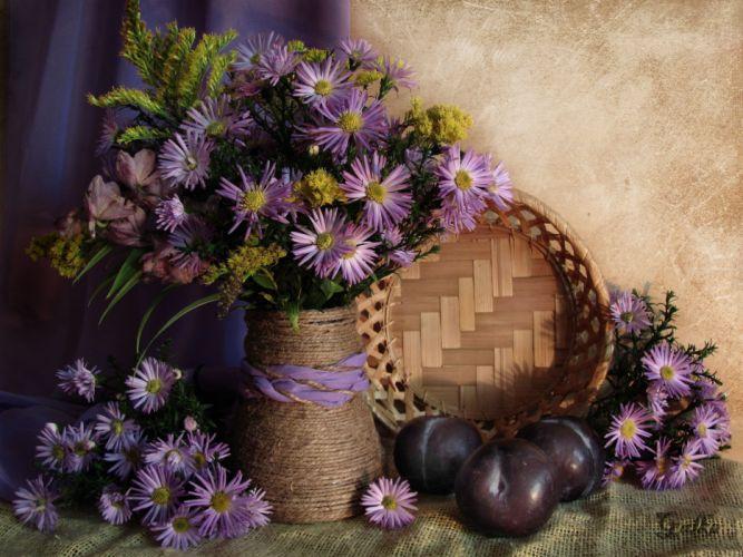 fruit basket flower nature beauty wallpaper