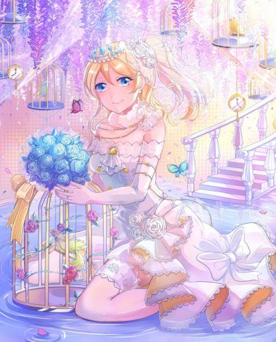 anime girl bird blonde hair blue eyes butterfly flower garter gloves hairpins jewelry long hair royalty smile water wedding wallpaper