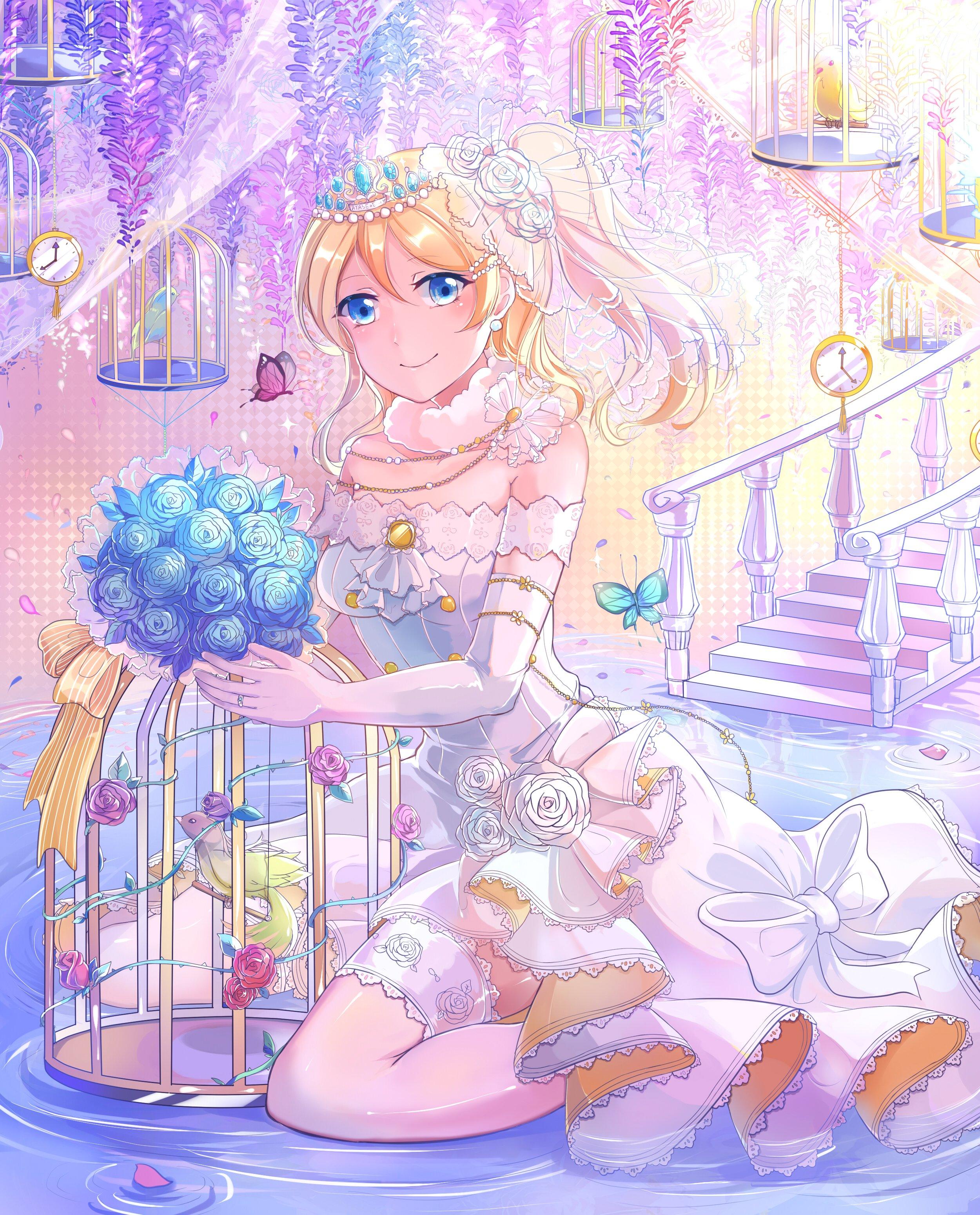 Anime Girl Bird Blonde Hair Blue Eyes Butterfly Flower