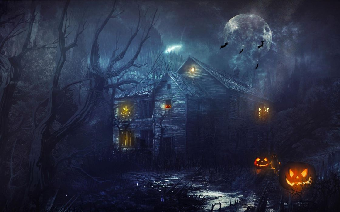 halloween dark house moon tree forest wallpaper
