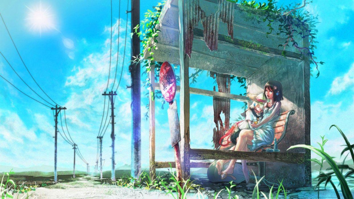 Anime Girl Waiting for Bus wallpaper