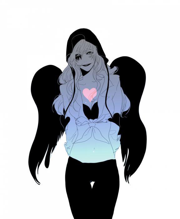 anime girl blush genderswap hat heart long hair pants smile tattoo wings onepiece wallpaper