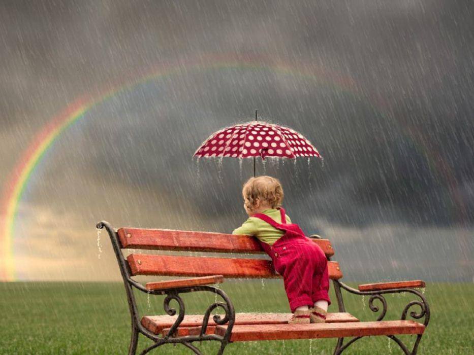 umbrella child rain nature cloud baby wallpaper