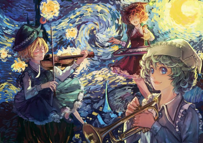 anime girl touhou blonde hair blue eyes brown eyes brown hair green hair group happy hat musical instrument piano short hair smile violin wallpaper