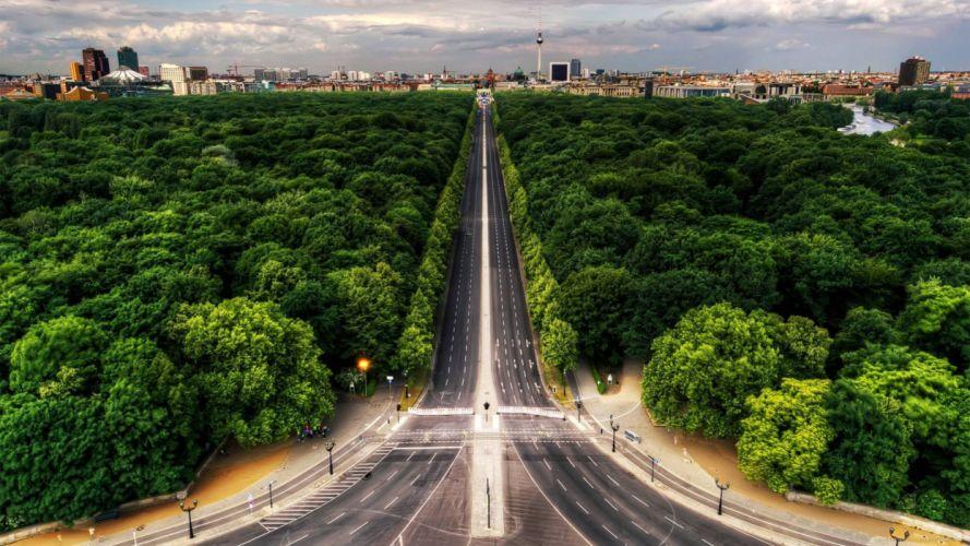 larga carretera ciudad arboles wallpaper