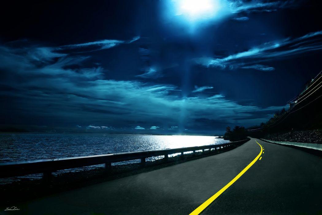 carretera noche playa nubes wallpaper