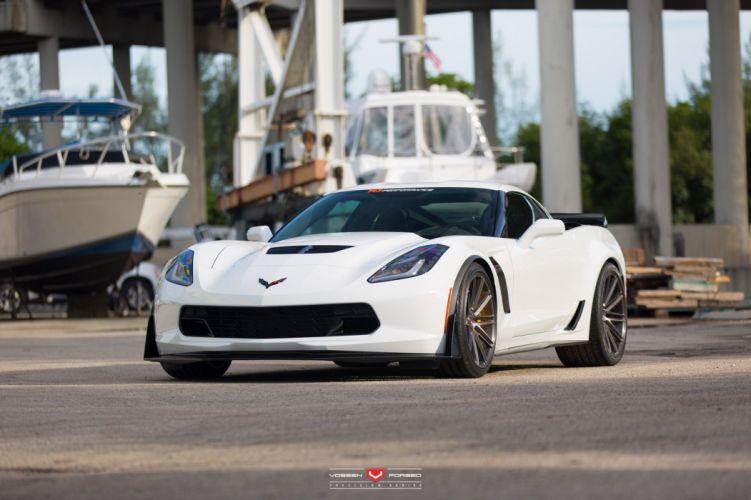 Vossen Wheels Chevy Corvette Z06 cars coupe white wallpaper