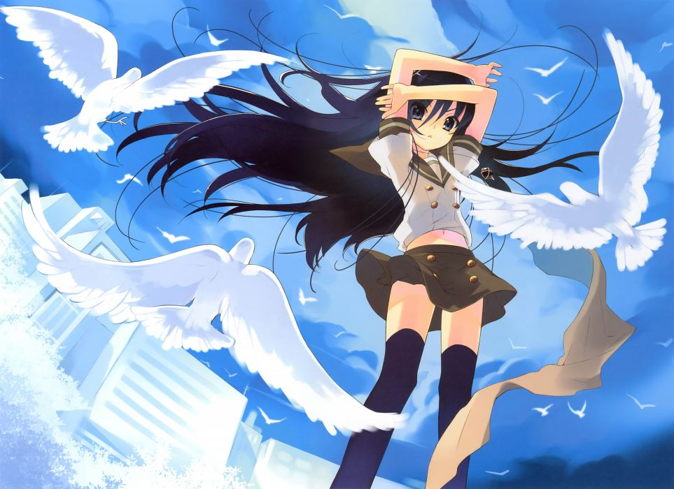 anime girl animal black hair jewelry long hair ribbon seifuku skirt sky thigh highs tree wallpaper
