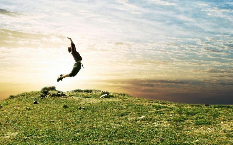 man jump green grass nature sunlight wallpaper