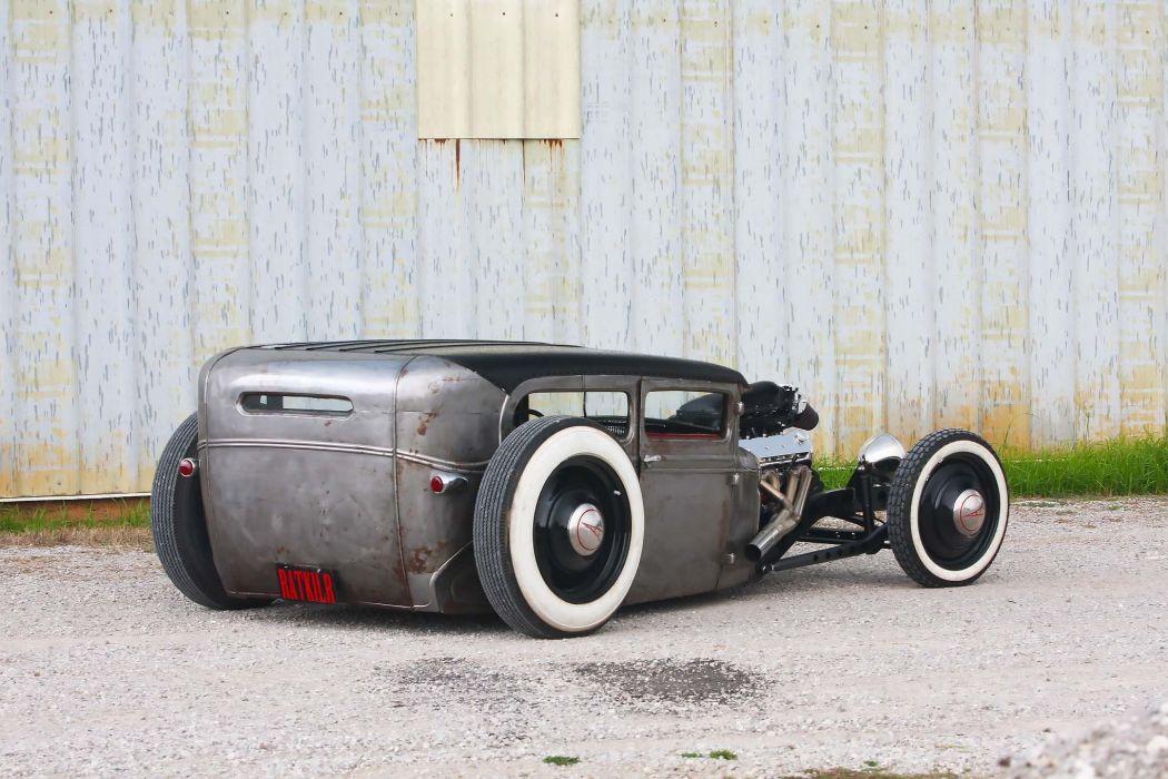Ford Model-A sedan custom hot rod rods rat retro vintage wallpaper
