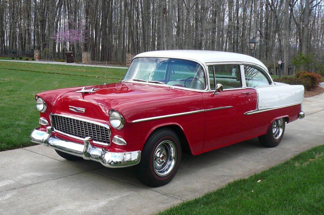1955 Chevrolet Post hot rod rods muscle retro wallpaper