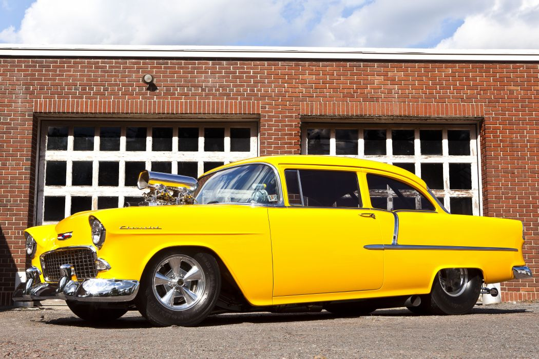 1955 Chevrolet Bel Air drag race racing hot rod rods custom retro belair wallpaper