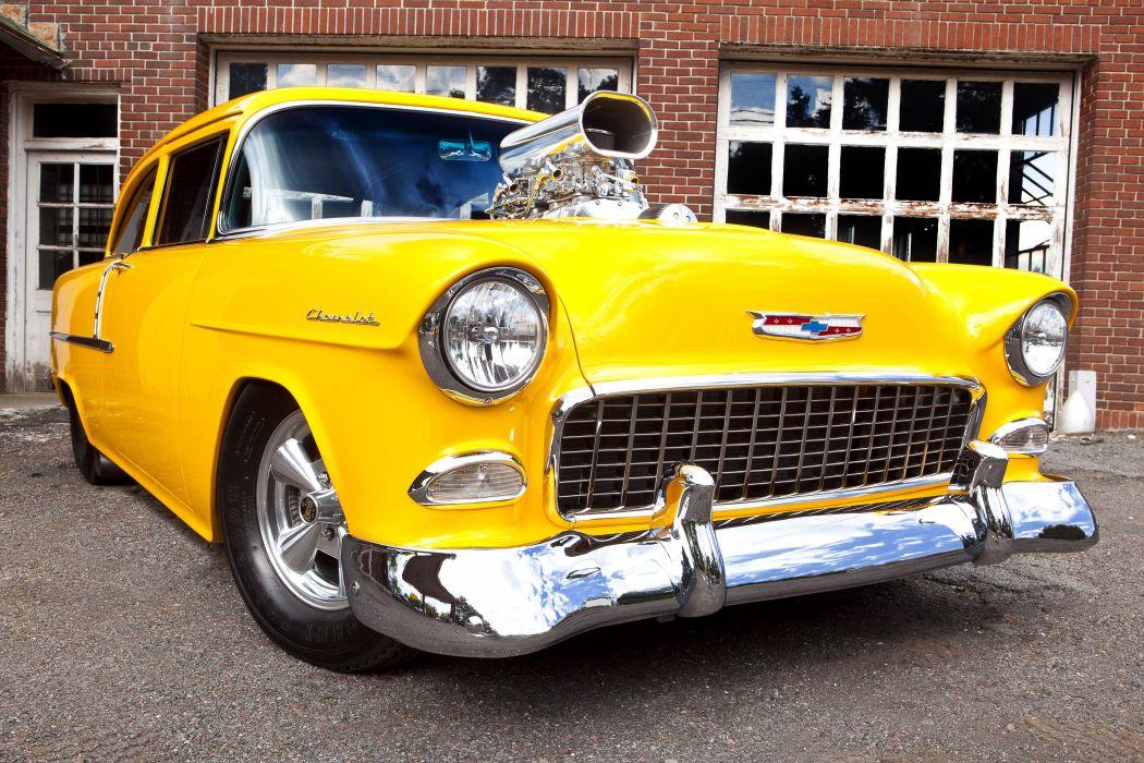 1955 Chevrolet Bel Air drag race racing hot rod rods custom retro belair wallpaper
