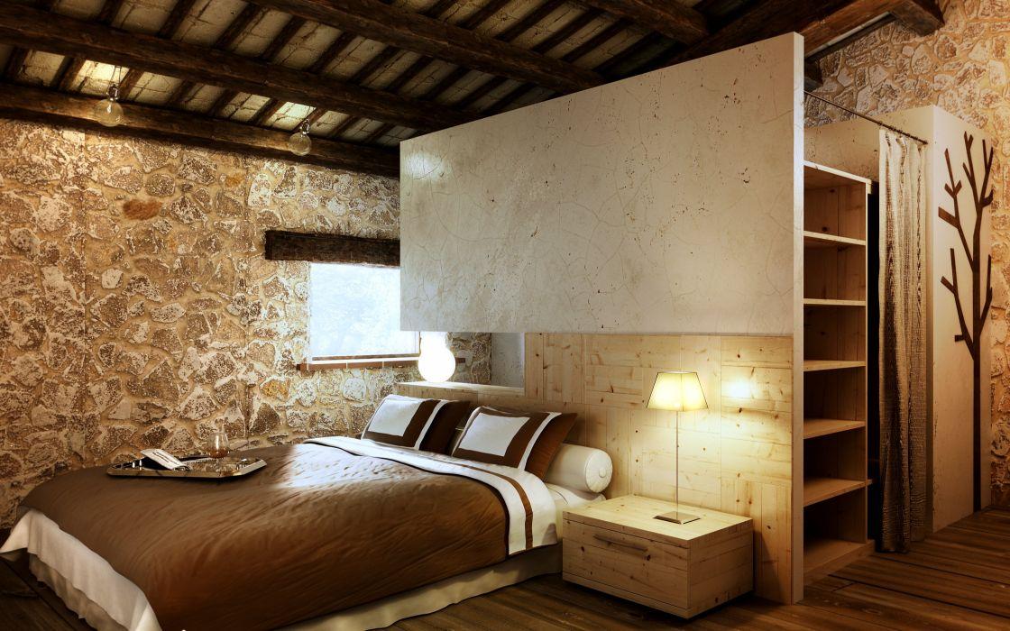 habitacion casa rural cama muebles wallpaper
