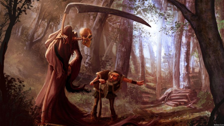 muerte calavera bosque fantasia wallpaper