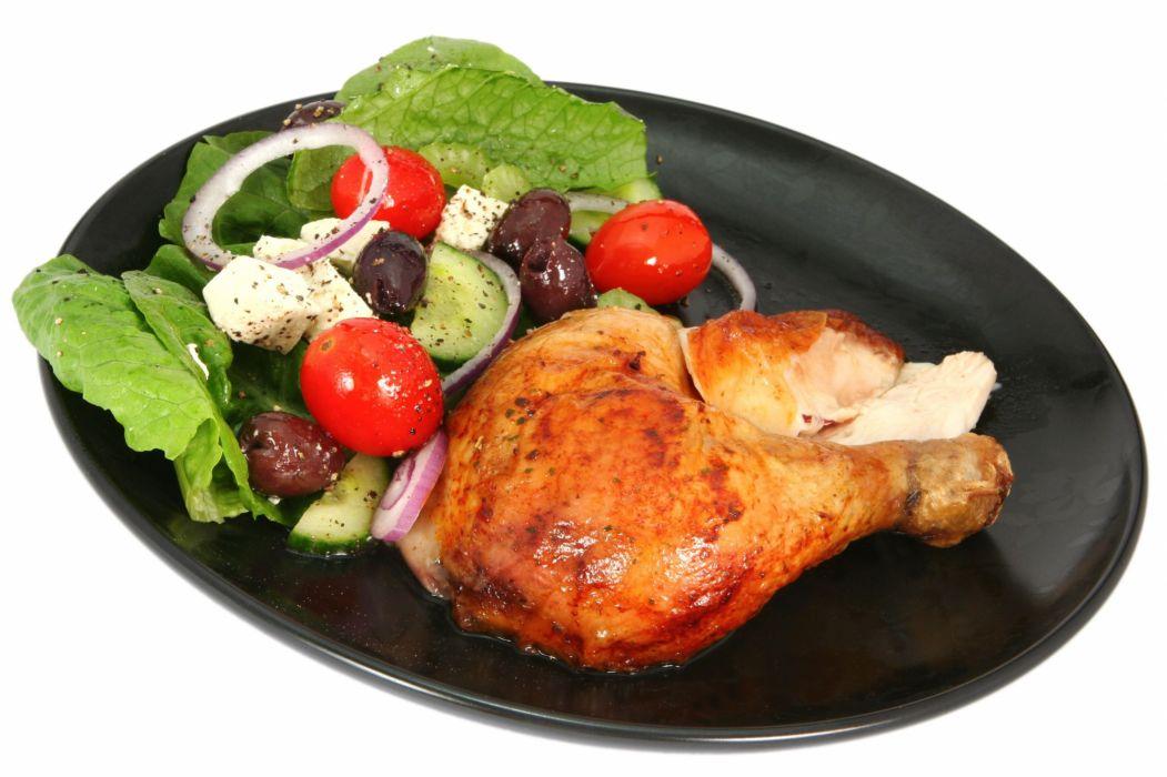 muslo pollo verdura comida wallpaper