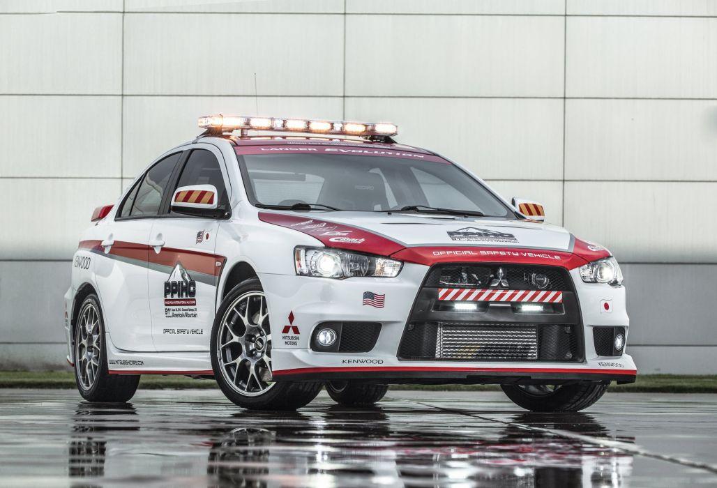 2013 Mitsubishi Lancer Evolution Pikes Peak Safety race racing emergency rally wallpaper