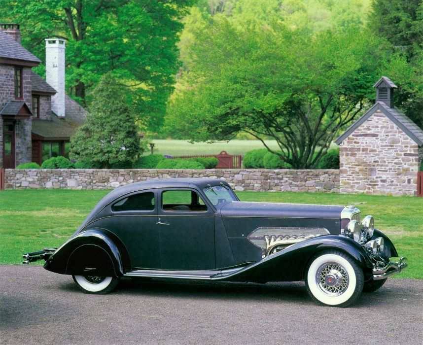 1932 Duesenberg Model-SJ 212-2234 Torpedo Sedanette SWB Bohman Schwartz luxury retro vintage wallpaper