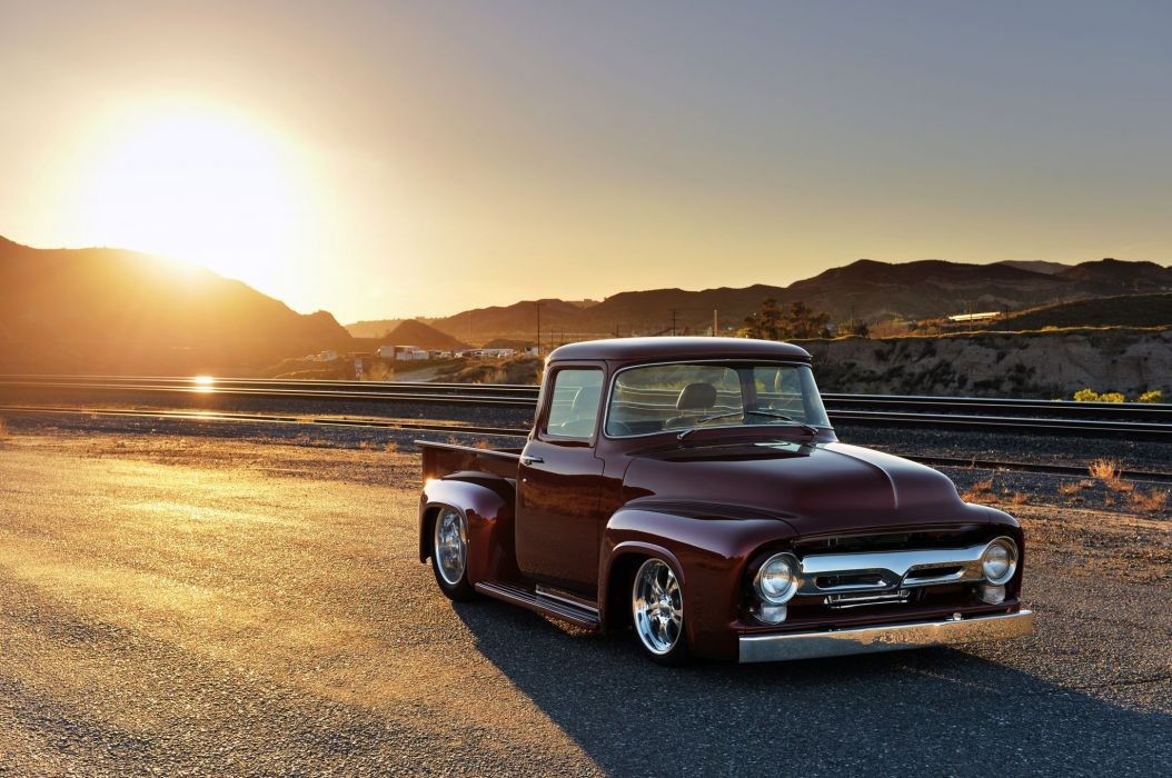 1956 Ford F-100 custom hot rod rods pickup lowrider f100 wallpaper