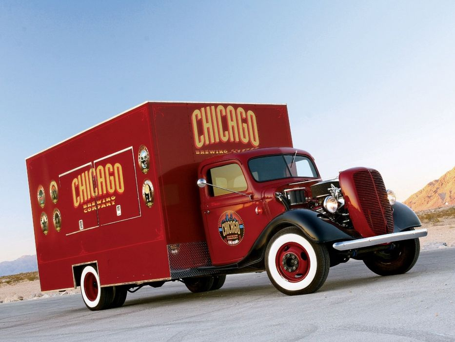 1937 Ford Flatbed hot rod rods custom beer alcohol retro vintage wallpaper