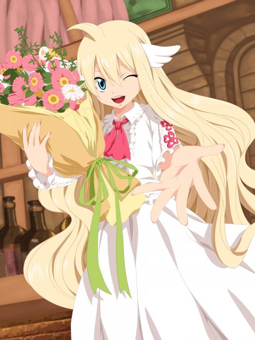 anime series characters fairy tail girl blonde hair blue eyes dress flower happy long hair ribbon wink wallpaper