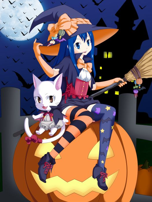 anime series characters fairy tail girl animal blue eyes blue hair brown eyes cat cloak halloween happy hat long hair moon night ribbon shorts sky stars sweets thigh highs witch wallpaper