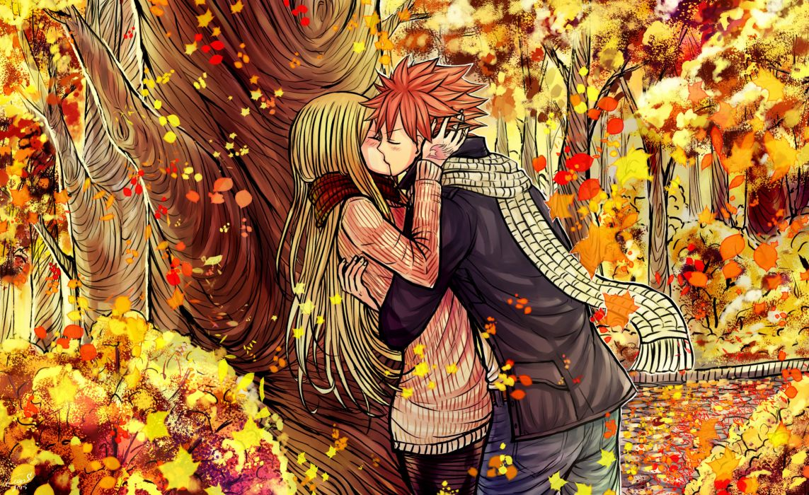 anime series characters fairy tail girl autumn blonde hair blush couple hug jacket kiss long hair pants pink hair scarf short hair sweater tattoo tree wallpaper