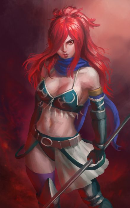 anime series characters fairy tail girl bikini gloves long hair polearm ponytail red hair scarf thigh highs wallpaper