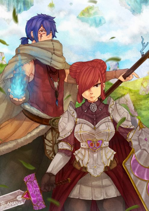 anime series characters fairy tail girl blue hair brown eyes cloak gloves jewelry magic ponytail red hair short hair sky staff sword tattoo warrior wallpaper