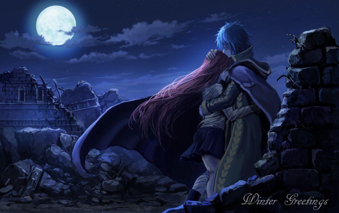 anime series characters fairy tail girl blue hair cloak crying hug long hair moon night red hair short hair skirt sky stars wallpaper