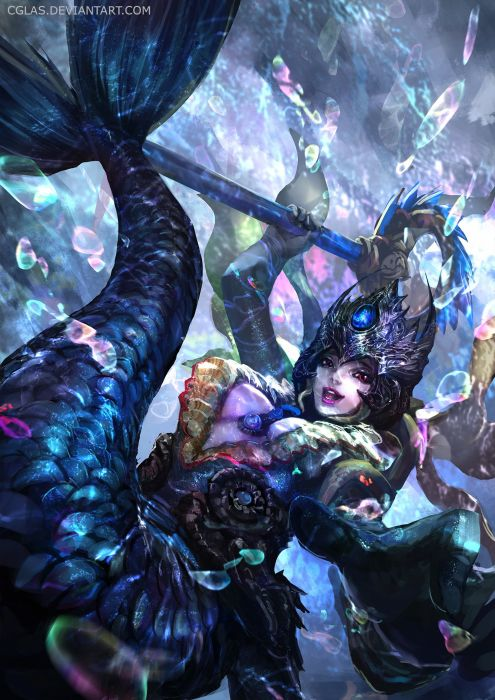 fantasy gloves happy headdress jewelry mermaid red eyes underwater weapon wallpaper