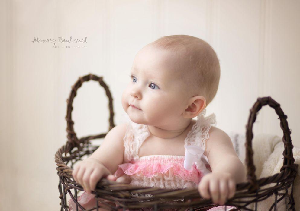 cute baby girl basket wallpaper
