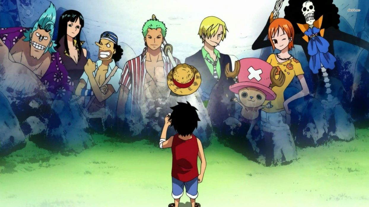 anime series one-piece lufy characters group wallpaper