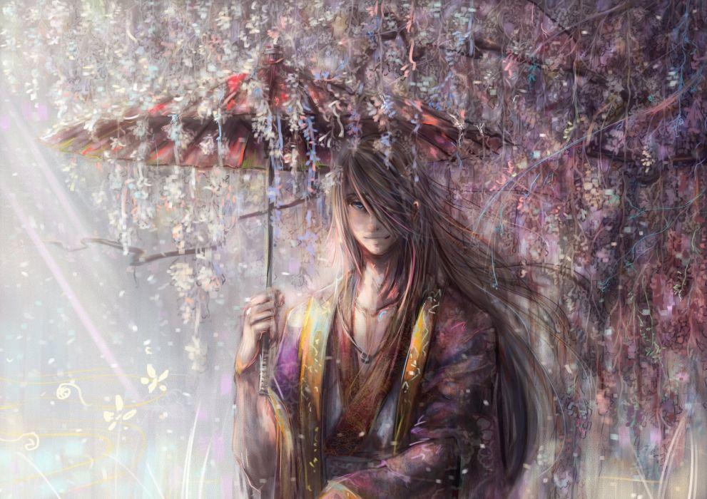 anime umbrella kimono flower long hair guy wallpaper