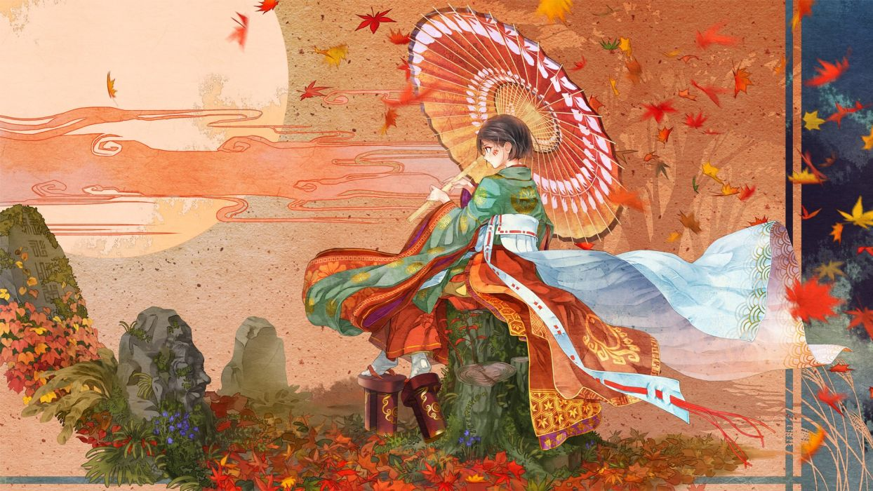 kimono anime girl leaves red autumn umbrella beaut short hair wallpaper