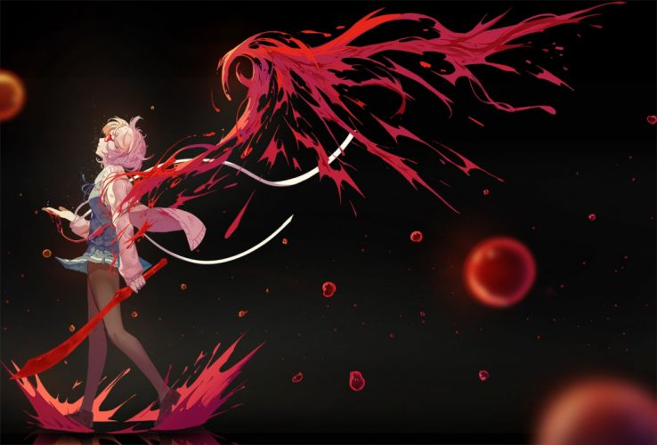 kyoukai no kanata kuriyama sword dress girl anime series wallpaper