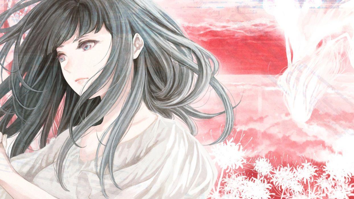 anime girl black eyes blue eyes long hair wallpaper