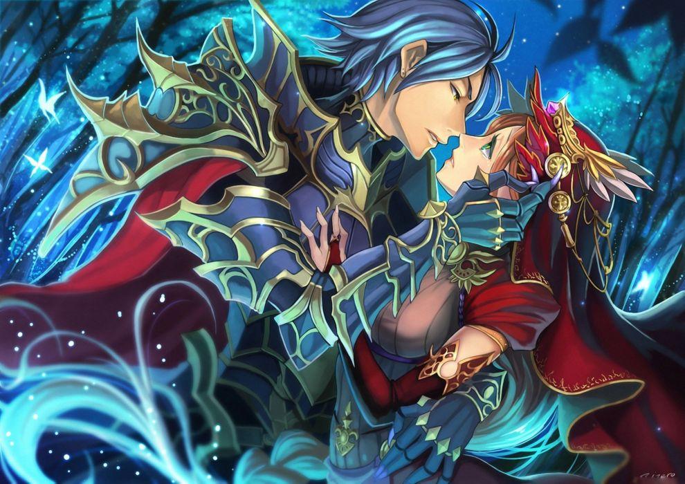 anime couple girl guy red long hair love wallpaper