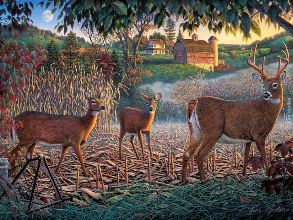 painting oil art beauty deer nature wallpaper