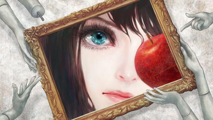 black hair blue eyes food apple fruits wallpaper