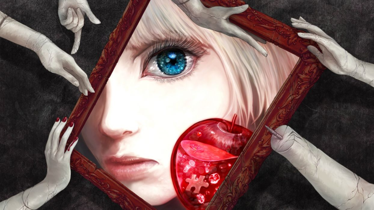 anime girl blonde hair blue eyes doll food nail polish short hair apple water wallpaper