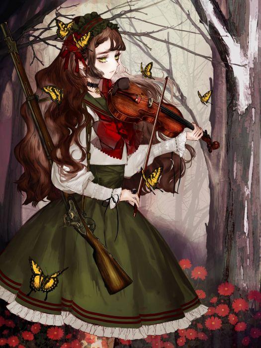 anime girl brown hair butterfly choker flower green eyes gun headdress jewelry long hair pantyhose skirt tree violin wallpaper