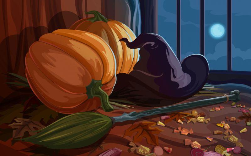 halloween calabazas escoba caramelos wallpaper