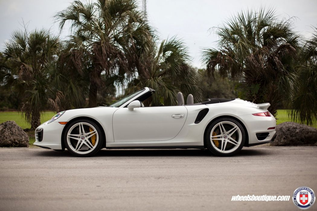 Porsche 991 Turbo S cabriolet white HRE wheels supercars cars wallpaper