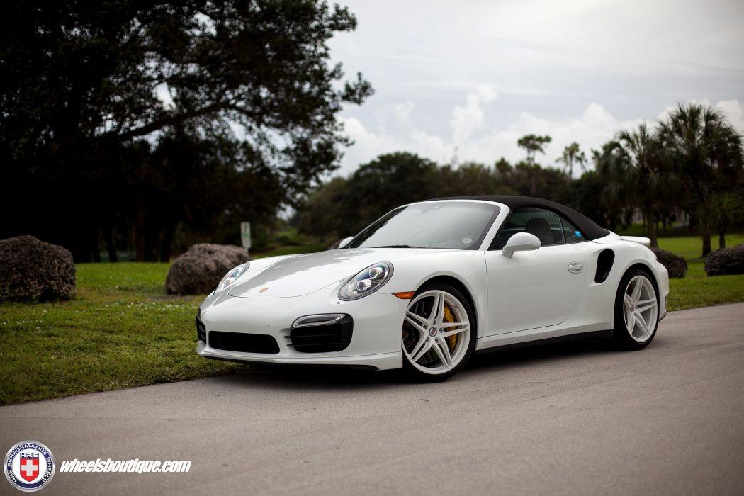 Porsche 991 Turbo S cabriolet white HRE wheels supercars cars wallpaper