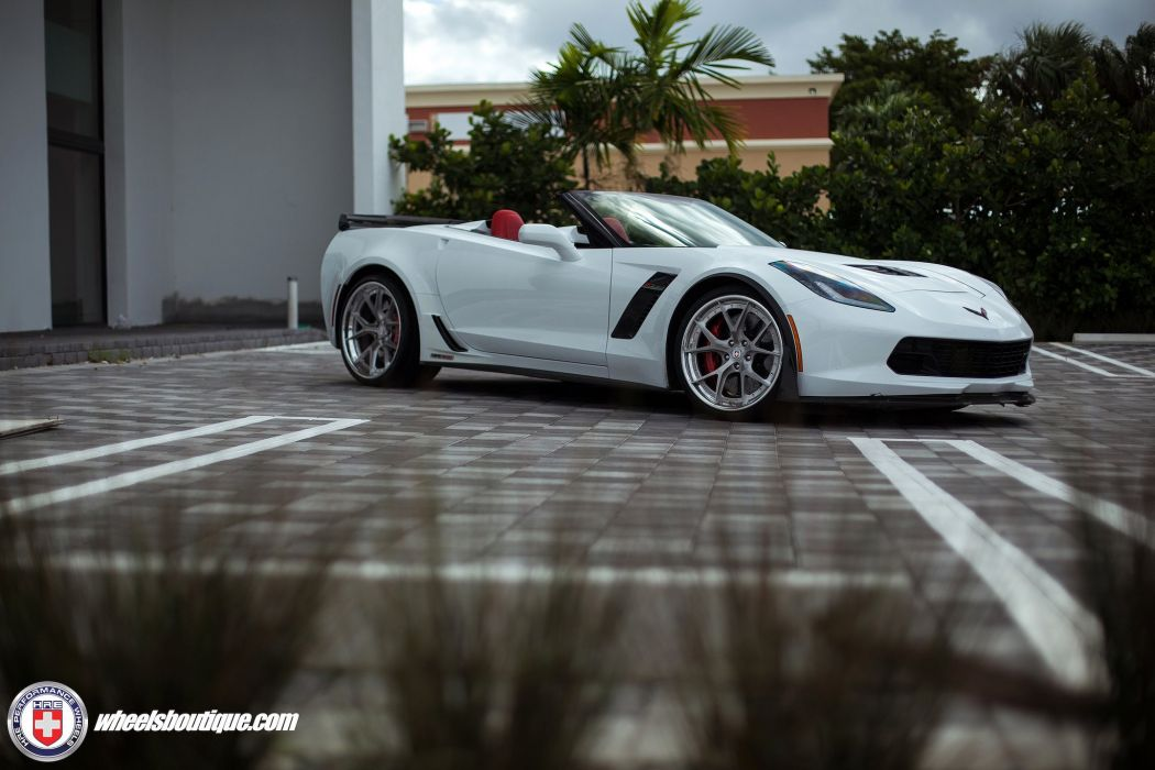 Chevy Corvette cabriolet Z06 white HRE wheels supercars cars wallpaper