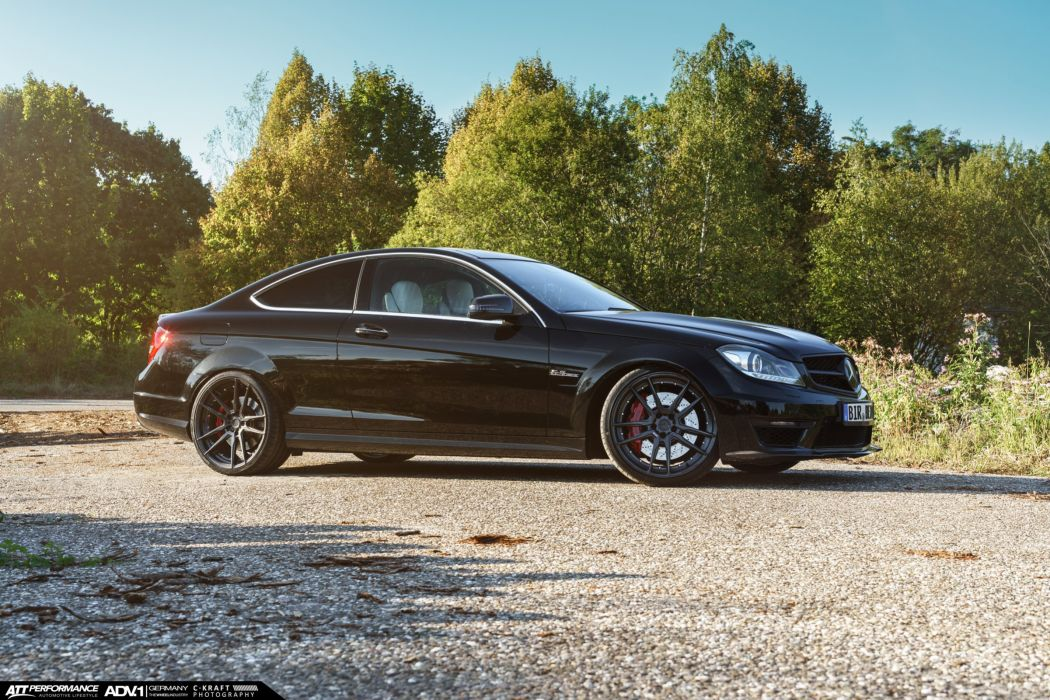Mercedes C63 AMG adv1 wheels coupe black cars wallpaper