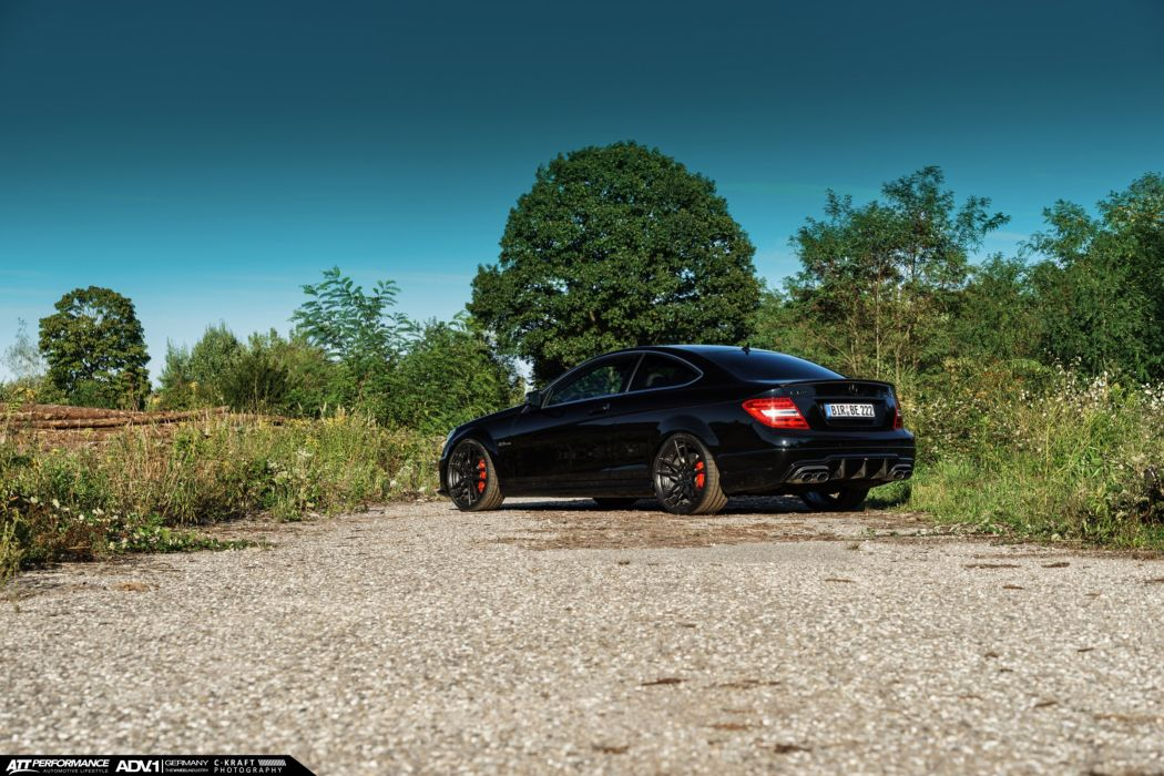 Mercedes C63 AMG adv1 wheels coupe black cars wallpaper