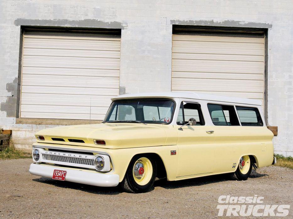1966 Chevrolet Suburban suv stationwagon custom hot rod rods classic wallpaper
